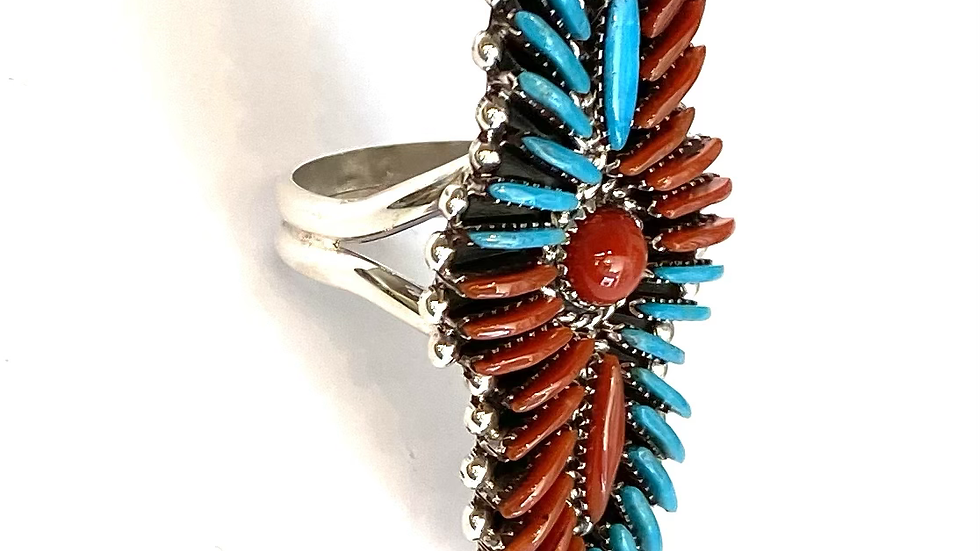 Coral & turquoise petit point ring