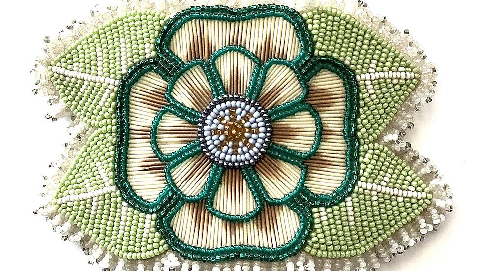Green flower hair barrette