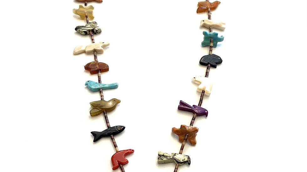 Blue bear Zuni fetish necklace