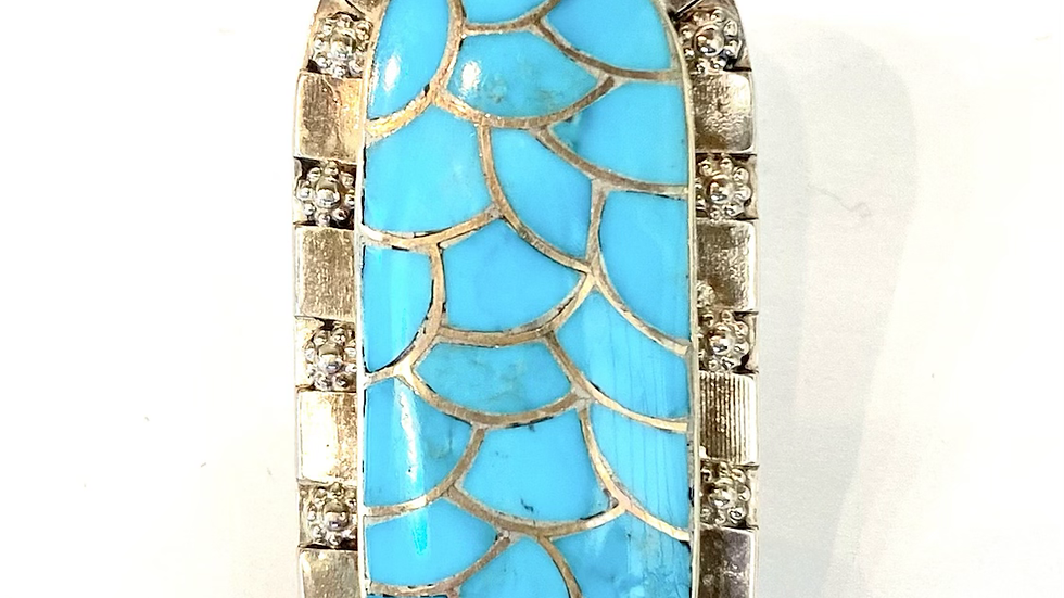 Turquoise inlay silver ring