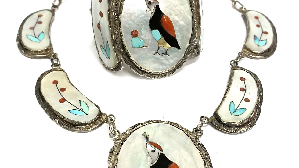 Quail bird necklace & bracelet