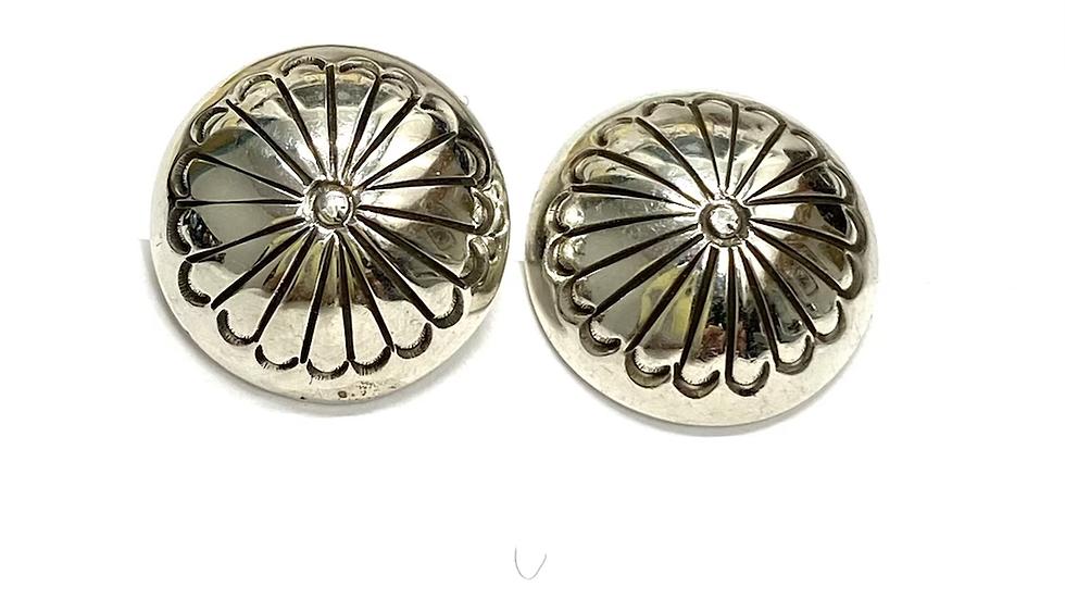 Silver stamped bead earrings