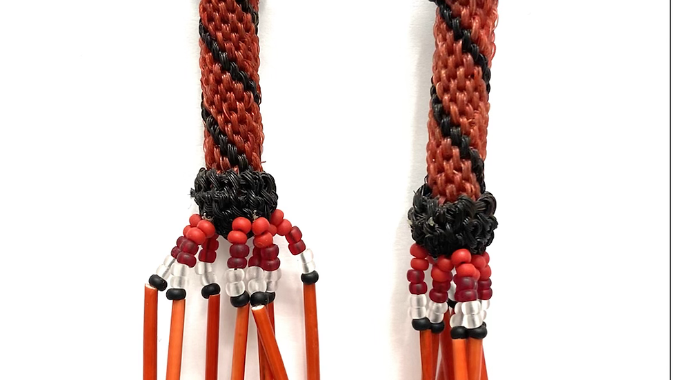 Red and black horse hair earrings