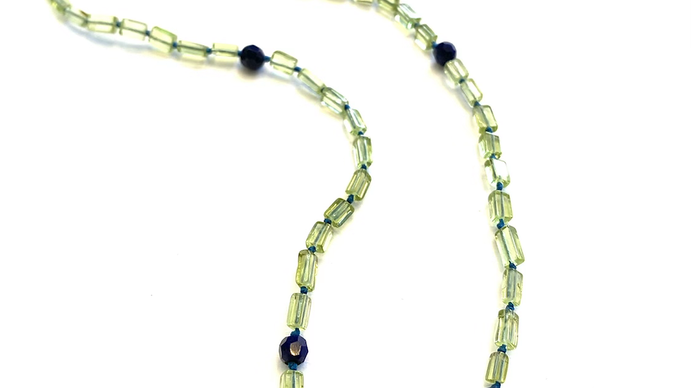 Hand knotted peridot lapis  necklace