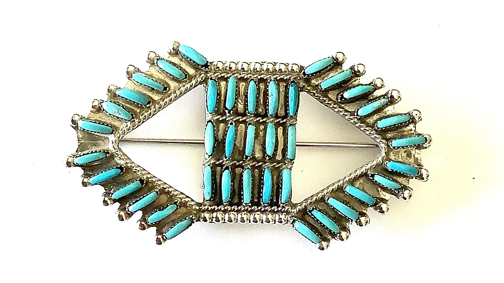 Turquoise petit point brooch