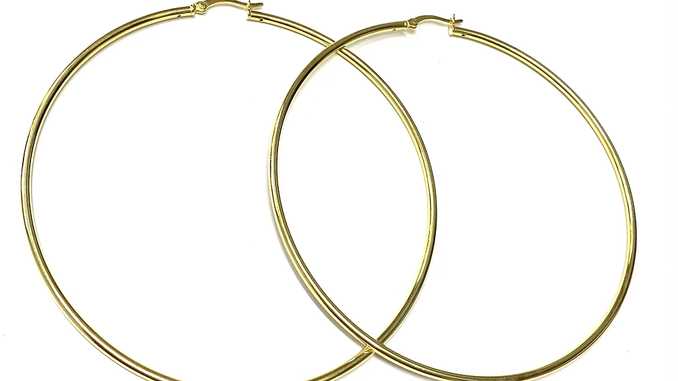 Gold tone silver hoops 3 inch