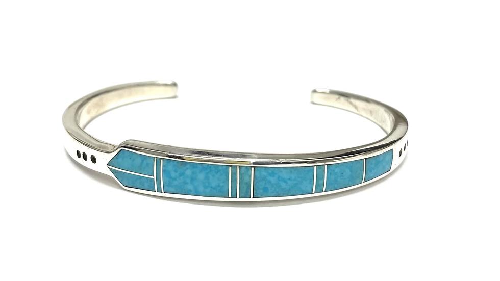 Turquoise inlay cuff bracelet