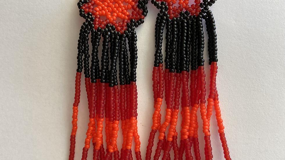 Red & black Huichol earrings