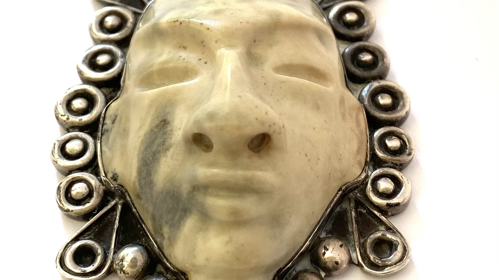 Serpentine face pendant Mexican