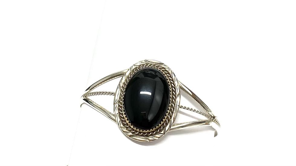 Black jet silver cuff bracelet
