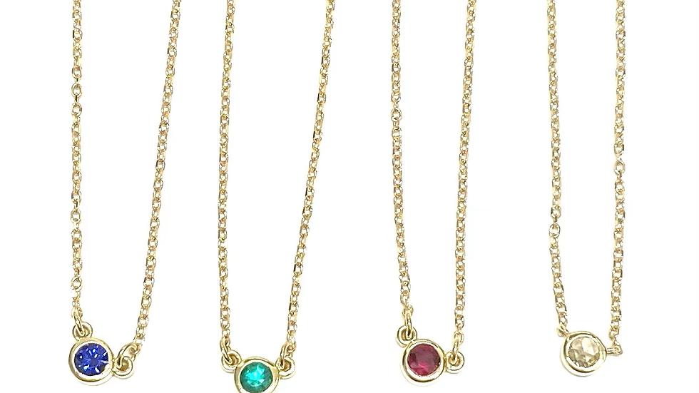 14k solitaire diamond necklace