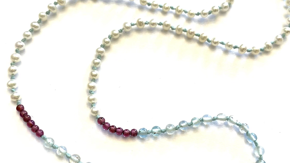 Hand knotted pearls/stones necklace