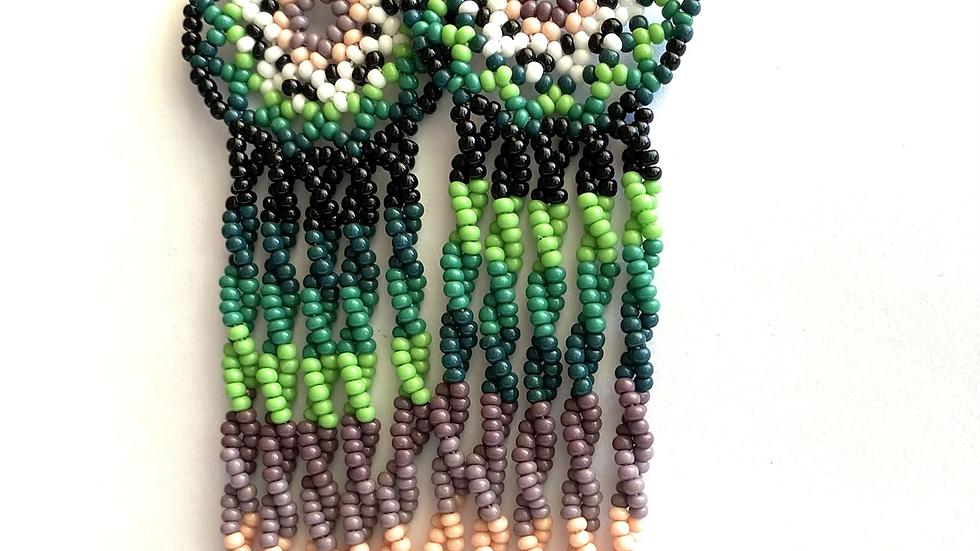 Green & purple Huichol earrings