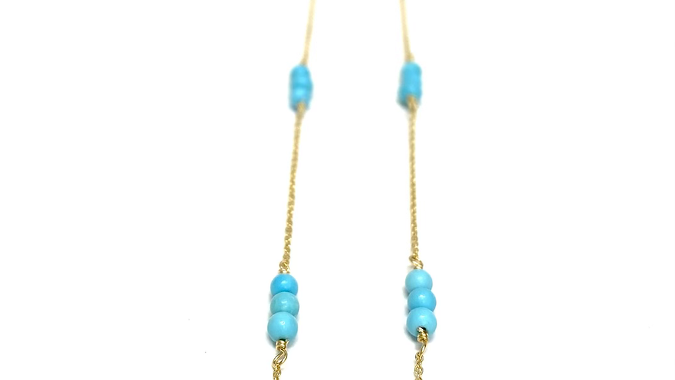 Turquoise wire wrapped gold necklace