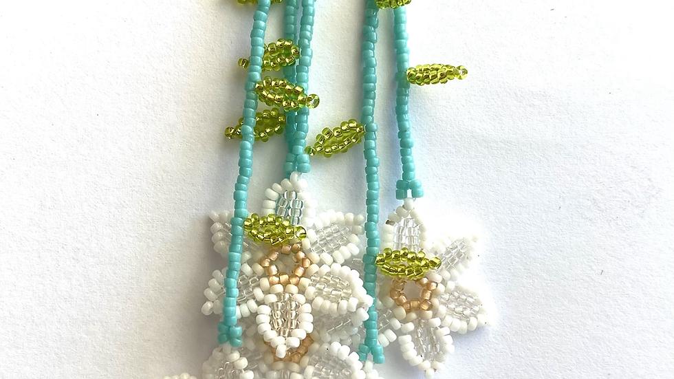 White Huichol 6 flower earrings