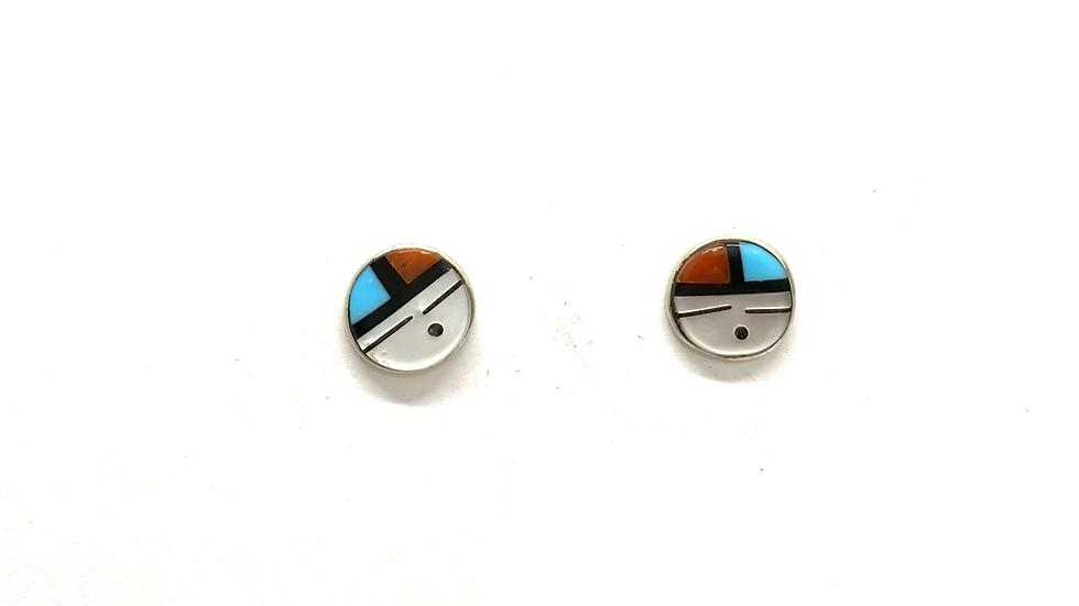 Sun face inlay earrings