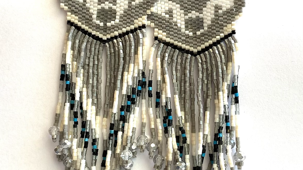 Grey wolf Huichol  earrings