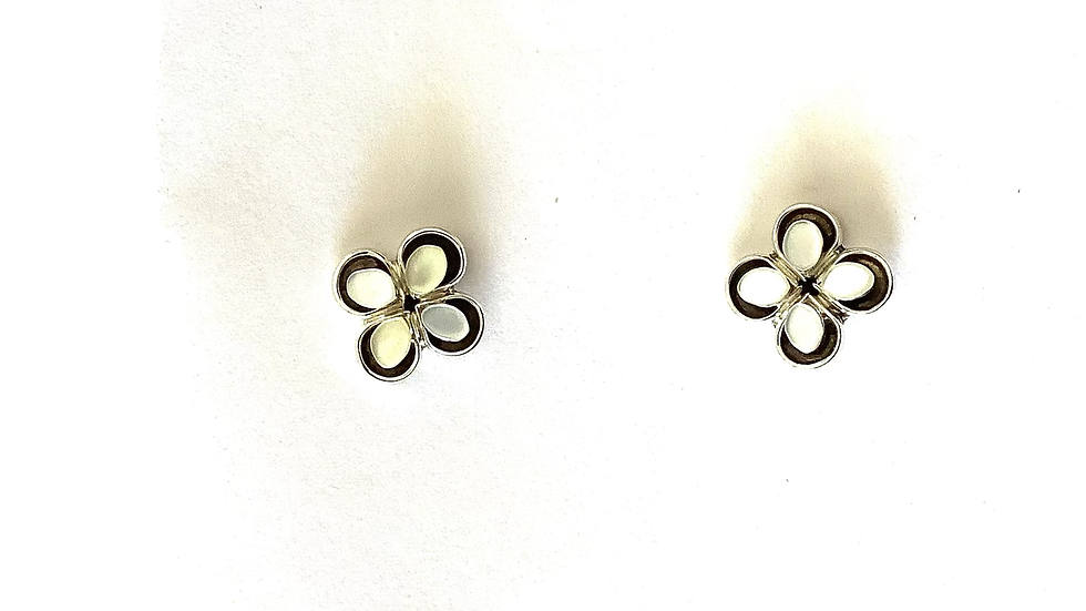 White mother of pearl post earrings