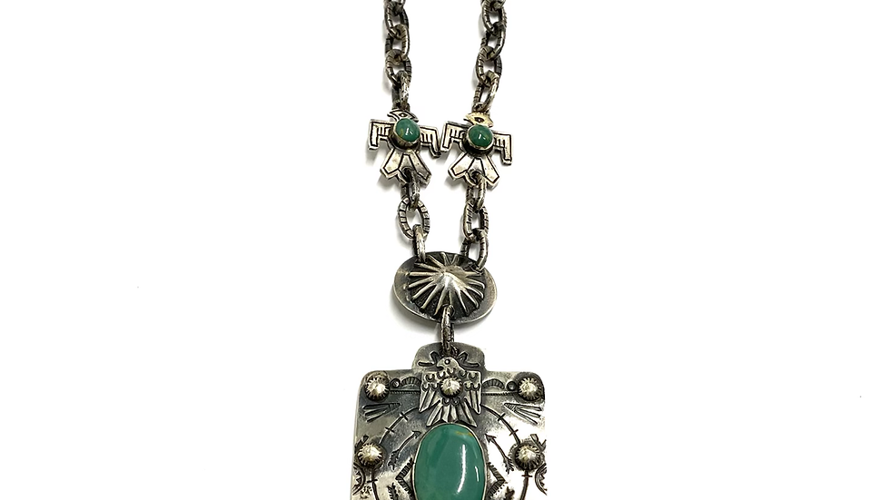 Green turquoise thunder bird necklace