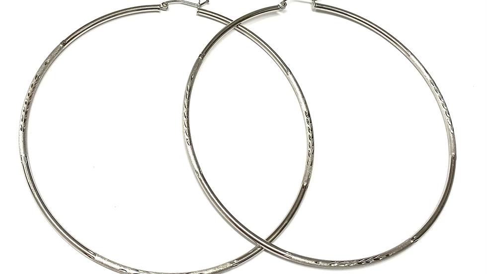"""3"""" Cut textured hoop earrings"""