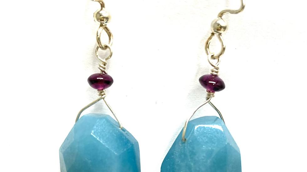 Amazonite and garnet earrings
