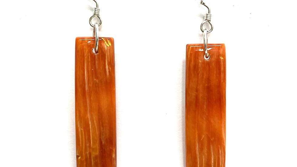 Orange spiny oyster shell earrings