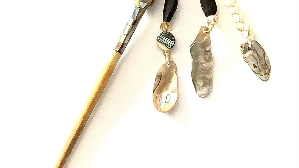 Miwok abalone and wood hair stick