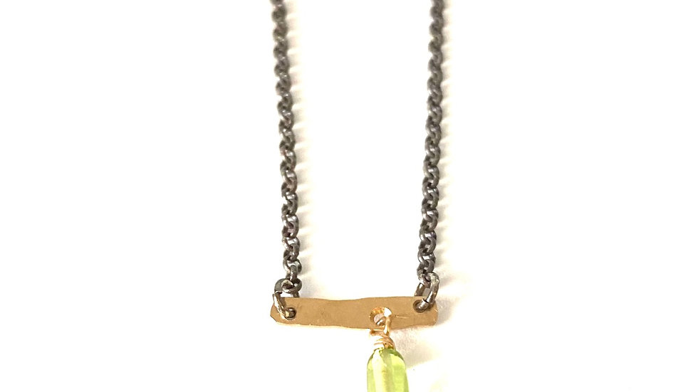 14k gold bar with peridot silver chain 16 inches