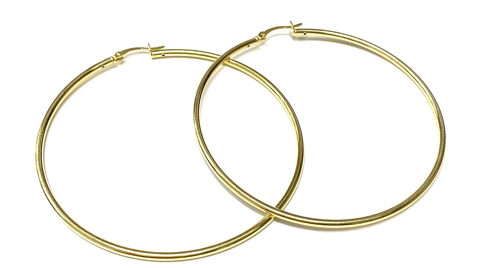 Gold tone silver hoops 2.5 inch