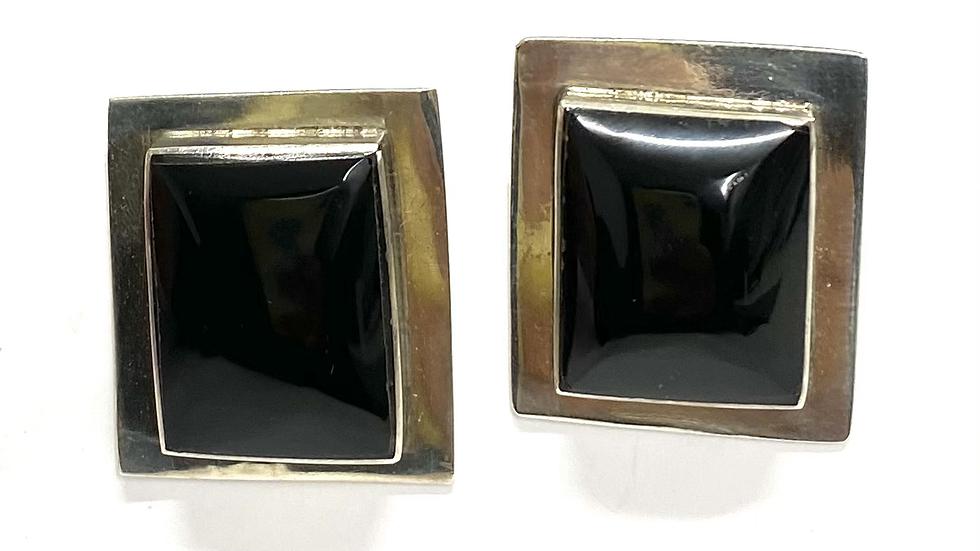 Black jet clip earrings