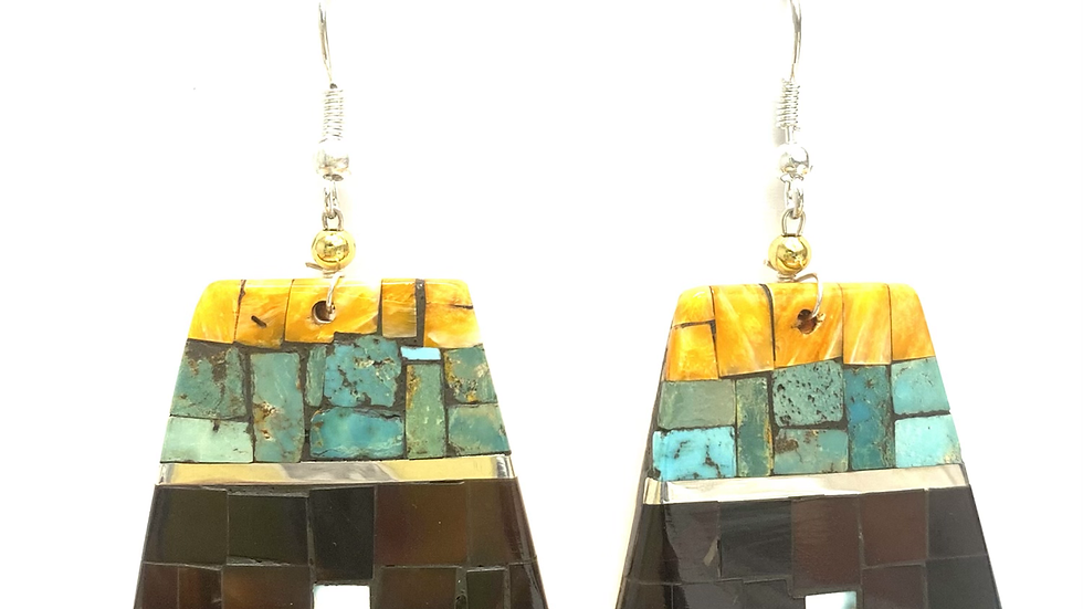Mosaic earrings orange spiny oyster top