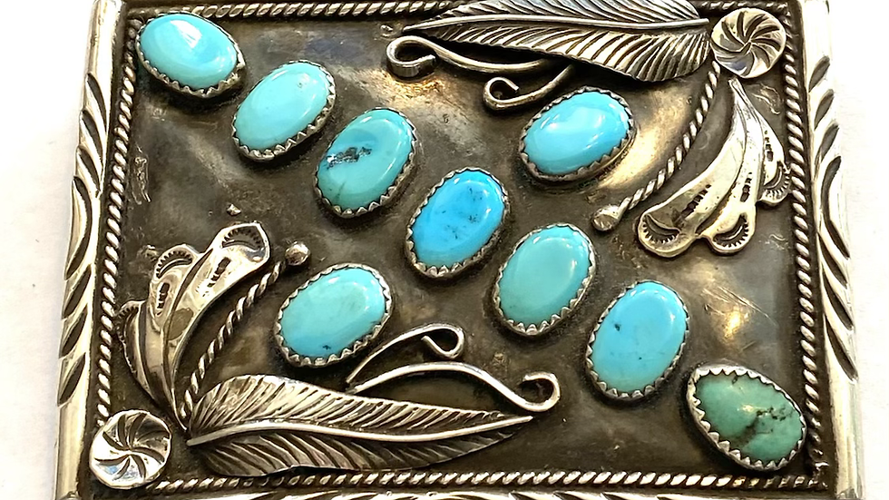 Turquoise silver buckle