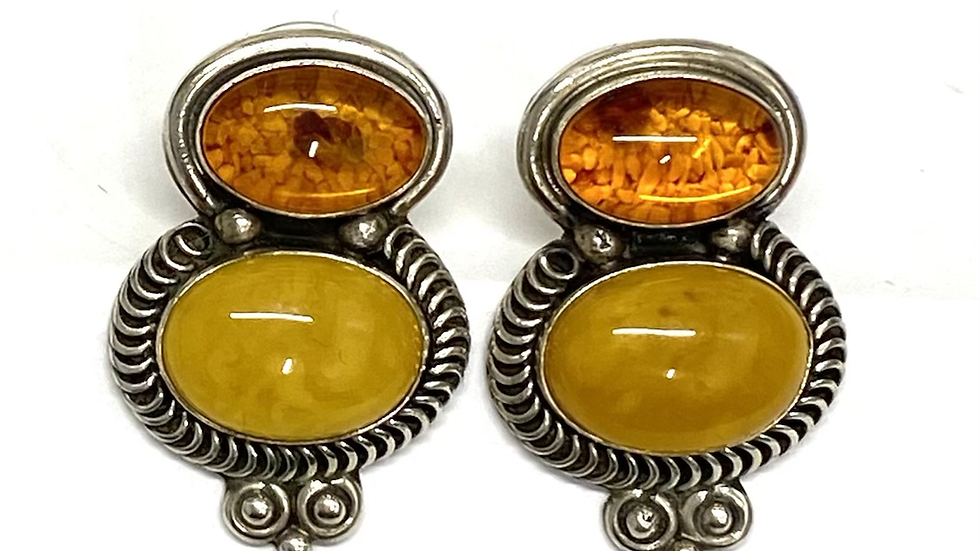 Amber sterling silver earrings