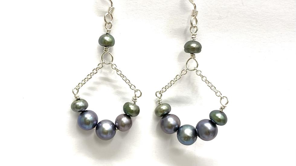 Gray fresh water pearl earrings
