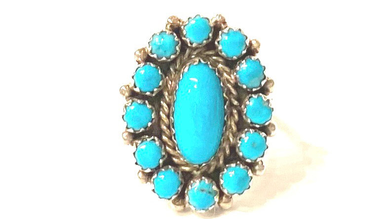 Turqouise small cluster ring