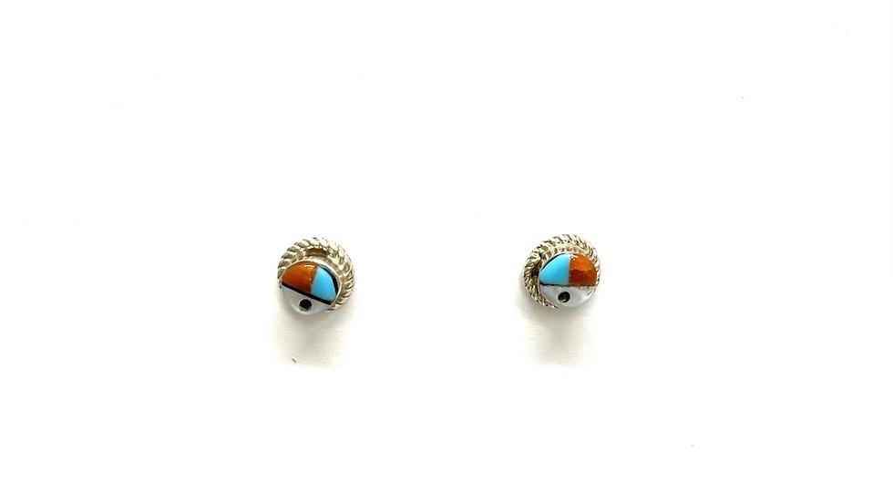 Sun face round post earrings