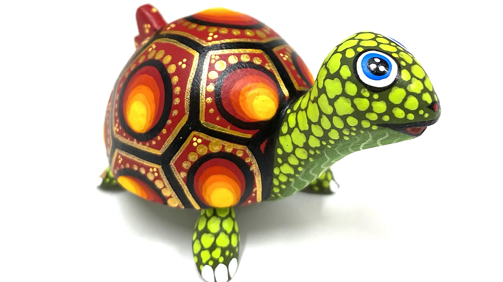 Green & Red Turtle Oaxacan Alebrije