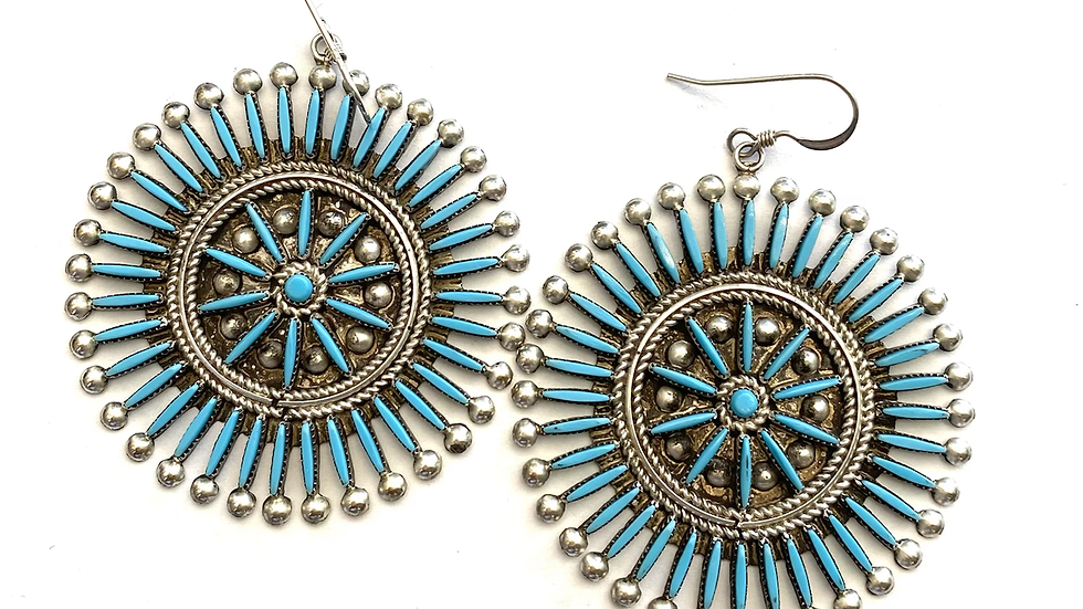 Turquoise round petit point earrings