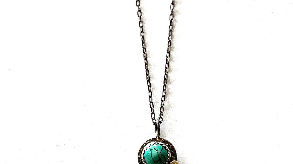 Turquoise 14k gold pendant