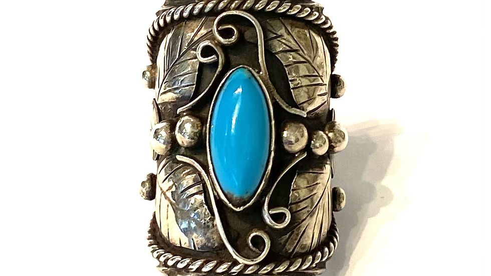 Turqouise wide silver ring