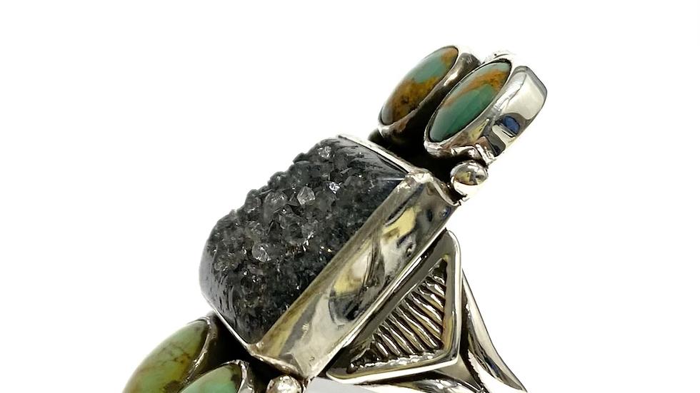 Green turquoise quartz ring