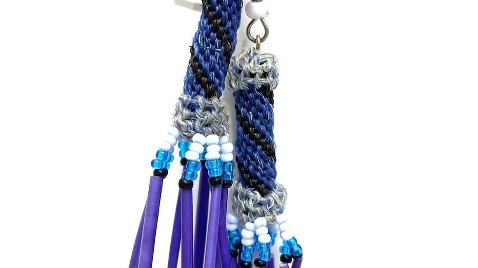 Blue black horse hair earrings