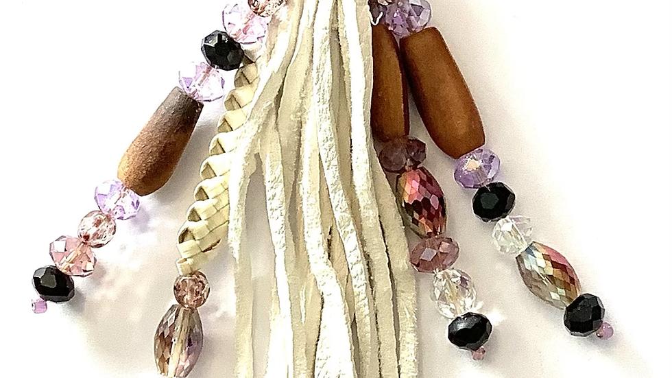 Miwok leather tassel and purple bead keychain