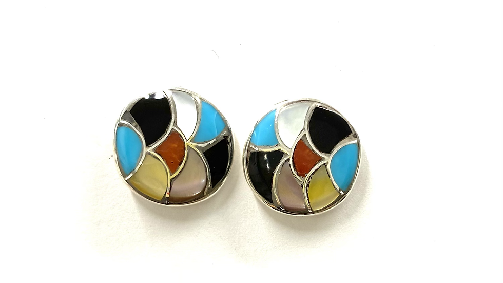 Multi color inlay post earrings