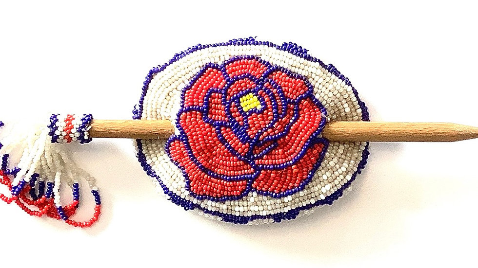 Red rose beaded hair stick