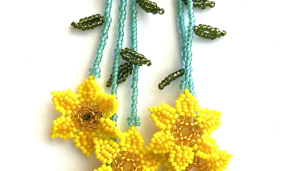 Yellow Huichol 6 flower earrings