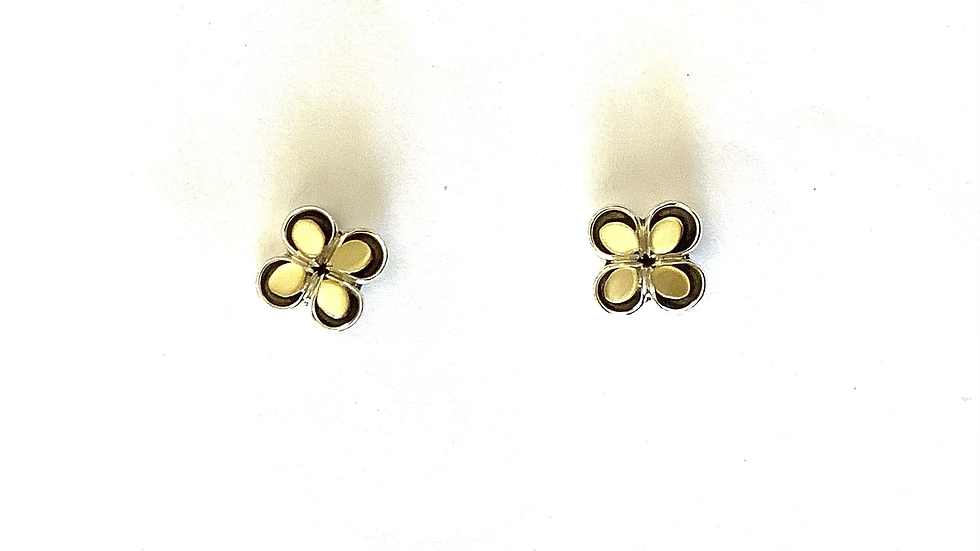 Yellow mother od pearl post earrings