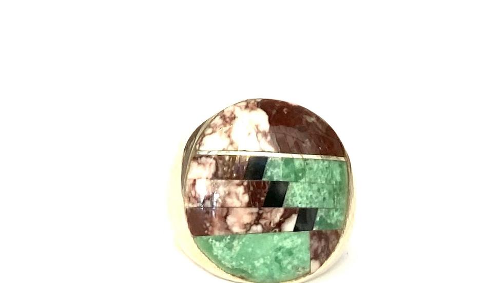 Chrysocolla & white turquoise inlay band