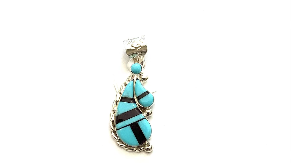 Turquoise and sugalite pendant