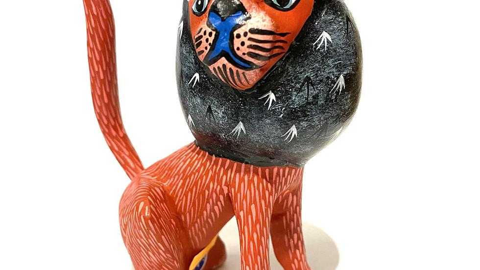 Orange lion Oaxacan Alebrije